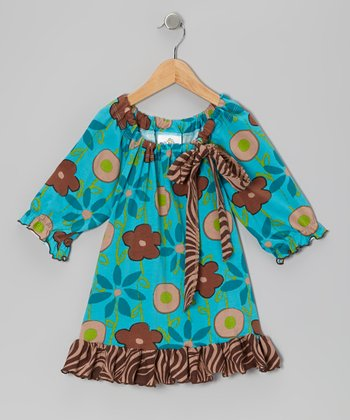 Turquoise Garden Mix Peasant Tunic - Toddler & Girls
