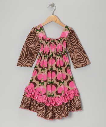 Brown & Pink Mod Bouquet Shirred Dress - Girls