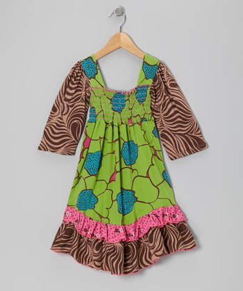 Green Flower Burst Shirred Dress - Infant & Girls