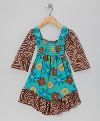 Turquoise Garden Mix Shirred Dress - Infant, Toddler & Girls