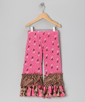 Pink Bouquet Ruffle Pants - Toddler & Girls