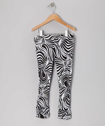 Black Zebra Leggings - Infant, Toddler & Girls