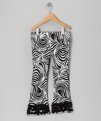 Black Zebra Flare Pants - Infant, Toddler & Girls