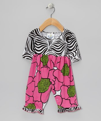 Pink Zebra Flower Burst Playsuit - Infant
