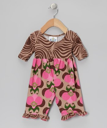 Brown Mod Bouquet Playsuit - Infant