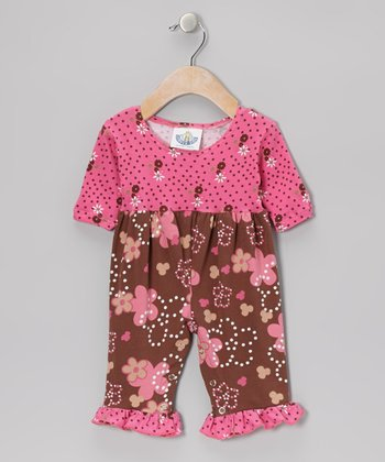 Brown & Pink Spotted Garden Playsuit - Infant