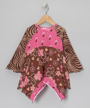 Brown & Pink Garden Handkerchief Top - Infant, Toddler & Girls