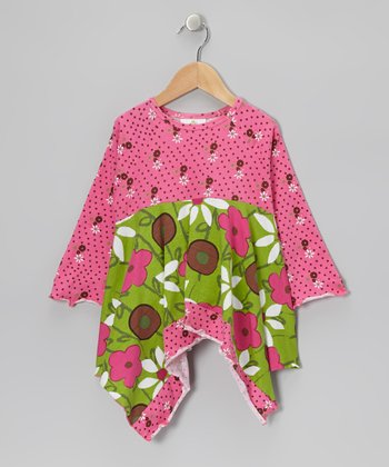Green & Pink Garden Handkerchief Top - Toddler & Girls