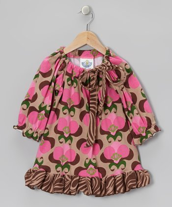 Brown Mod Bouquet Peasant Tunic - Toddler & Girls