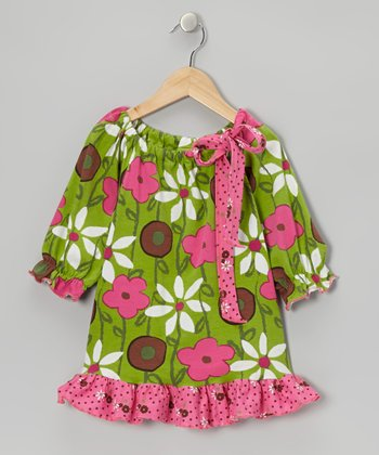Green & Pink Garden Mix Peasant Tunic - Toddler & Girls