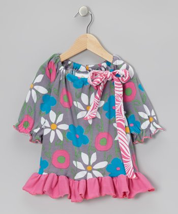 Blue & Pink Garden Mix Peasant Tunic - Infant, Toddler & Girls