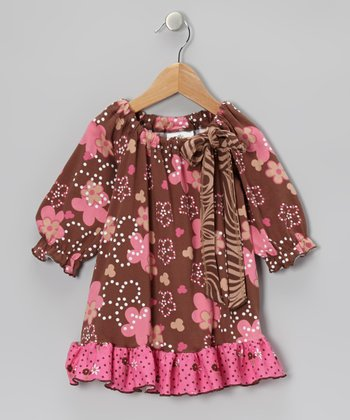 Brown & Pink Spot Garden Peasant Tunc - Infant, Toddler & Girls