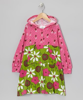 Green & Pink Garden Mix Hooded Dress - Infant, Toddler & Girls
