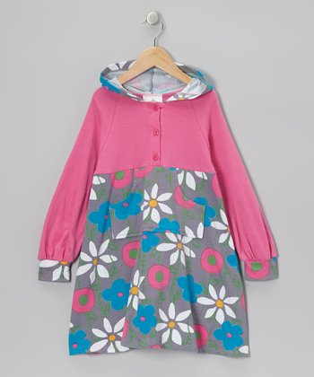 Pink & Blue Garden Mix Hooded Dress - Infant, Toddler & Girls