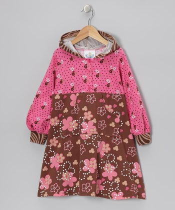 Brown & Pink Spot Garden Hooded Dress - Infant, Toddler & Girls