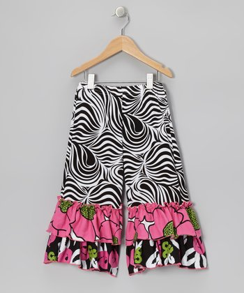 Black Zebra Brush Rose Ruffle Pants - Infant, Toddler & Girls