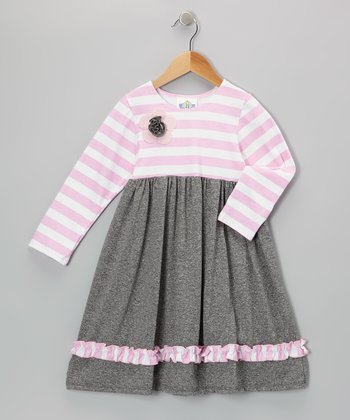 Pink & White Stripe Babydoll Dress - Infant, Toddler & Girls