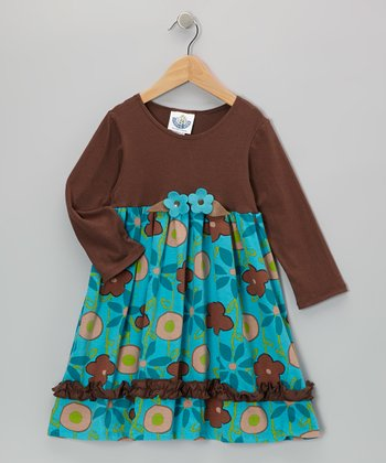 Brown & Turquoise Garden Babydoll Dress - Infant, Toddler & Girls
