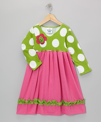 Green & Pink Babydoll Dress - Infant, Toddler & Girls