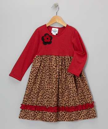 Red & Brown Leopard Babydoll Dress - Infant & Toddler