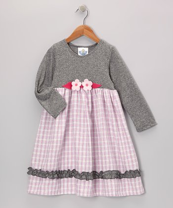 Pink & Gray Babydoll Dress - Infant, Toddler & Girls