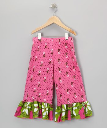 Green & Pink Garden Mix Ruffle Pants - Infant, Toddler & Girls