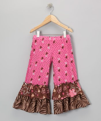 Brown & Pink Spotted Ruffle Pants - Infant, Toddler & Girls