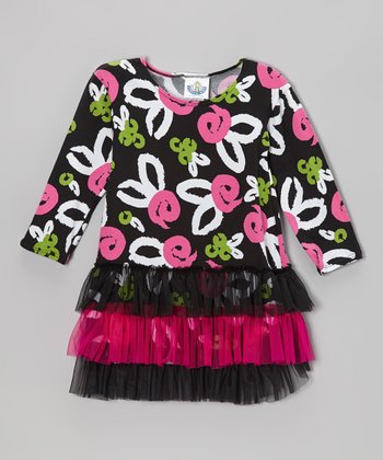 Black & Pink Brush Rose Tutu Dress - Infant