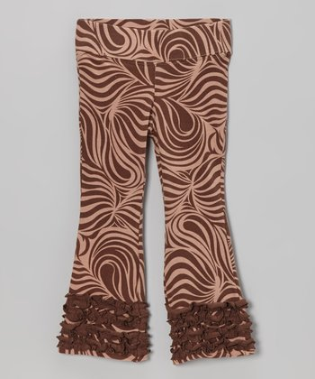 Brown Zebra Flare Pants - Infant, Toddler & Girls