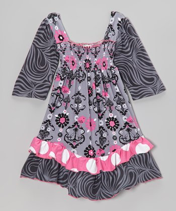 Gray Chandelier Shirred Dress - Infant, Toddler & Girls