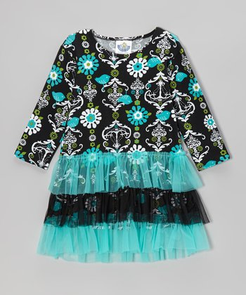 Teal Chandelier Tutu Ruffle Dress - Infant, Toddler & Girls