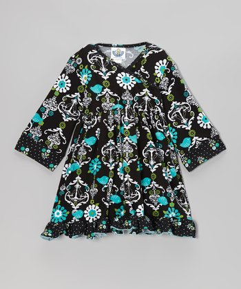 Black Chandelier Surplice Dress - Infant, Toddler & Girls