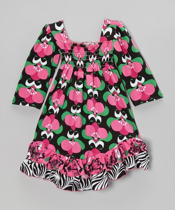 Black Mod Bouquet Shirred Dress - Infant, Toddler & Girls
