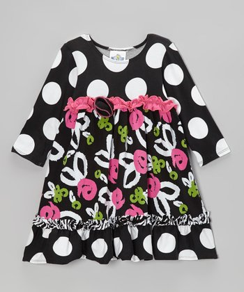 Black Brush Rose Long Sleeve Babydoll Dress - Infant, Toddler & Girls
