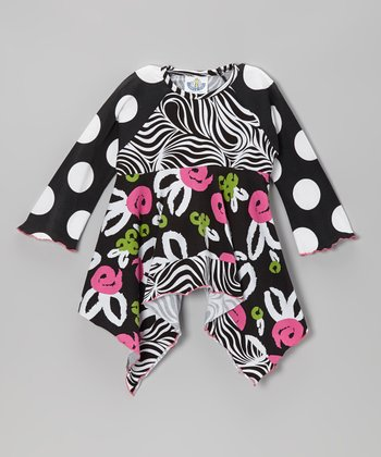Black Brush Rose Raglan Handkerchief Top - Infant, Toddler & Girls