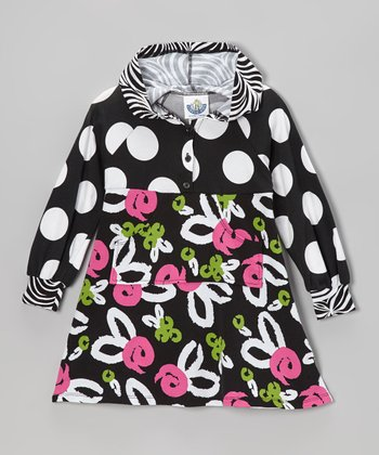 Black Brush Rose Hooded Dress - Infant, Toddler & Girls