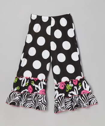 Black Brush Rose Ruffle Pants - Infant, Toddler & Girls