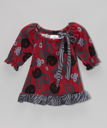 Crimson Brush Rose Peasant Tunic - Infant, Toddler & Girls
