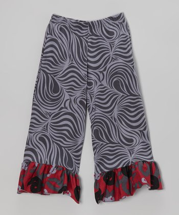 Crimson Brush Rose Ruffle Pants - Infant, Toddler & Girls