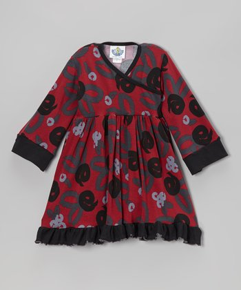 Crimson Brush Rose Surplice Dress - Infant, Toddler & Girls