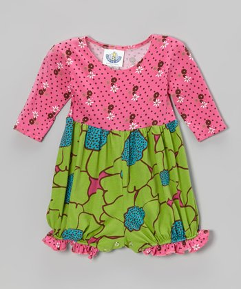 Green Flower Burst Long-Sleeve Playsuit - Infant