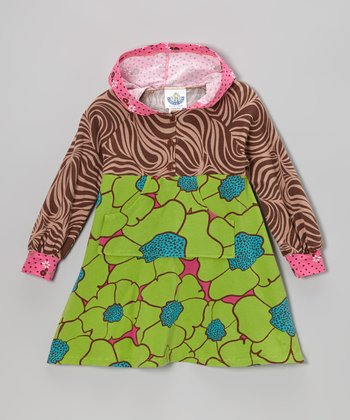 Green Flower Burst Hooded Dress - Infant, Toddler & Girls
