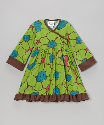 Green Flower Burst Surplice Dress - Infant, Toddler & Girls