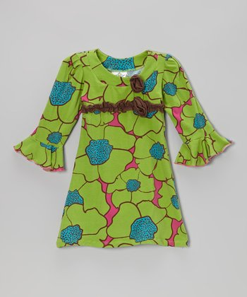 Green Flower Burst Long-Sleeve Dress - Infant, Toddler & Girls