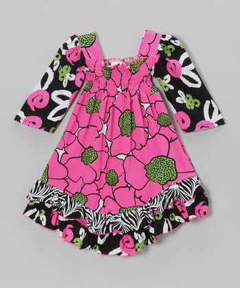 Pink & Green Flower Burst Shirred Dress - Toddler & Girls