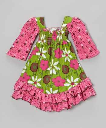 Green & Pink Garden Mix Shirred Dress - Infant, Toddler & Girls