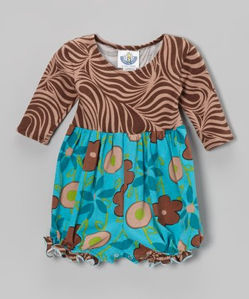 Turquoise Garden Mix Long-Sleeve Playsuit - Infant
