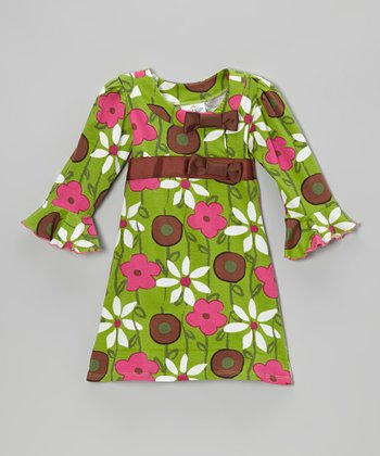 Green Garden Mix Long-Sleeve Dress - Infant, Toddler & Girls