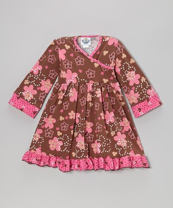 Brown Spotted Garden Surplice Dress - Infant, Toddler & Girls