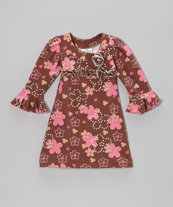 Brown Spotted Garden Long-Sleeve Dress - Infant, Toddler & Girls
